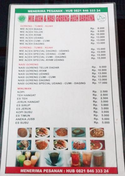 Menu Mie Aceh Baruna